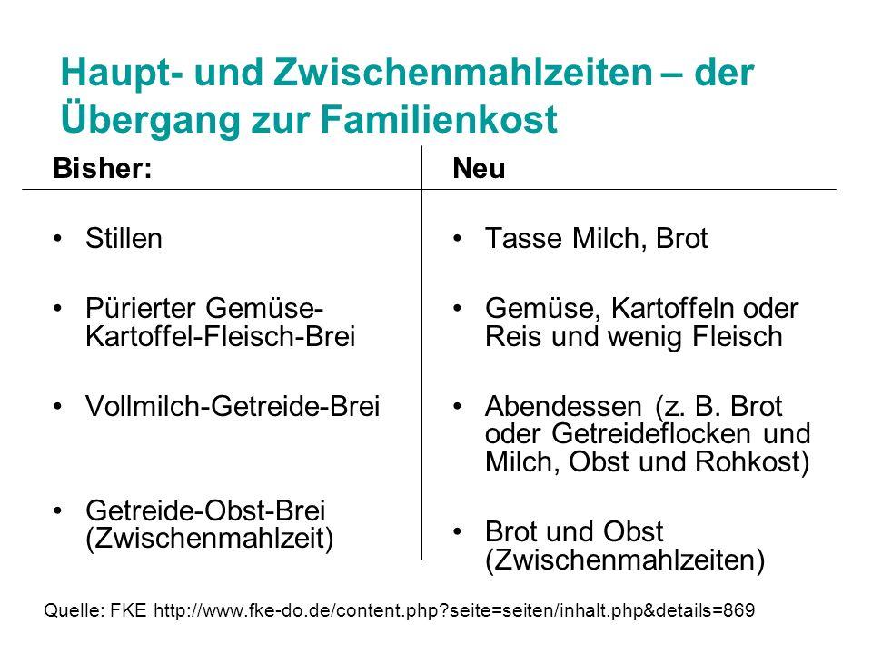 Haupt- und Zwischenmahlzeiten – der Übergang zur Familienkost