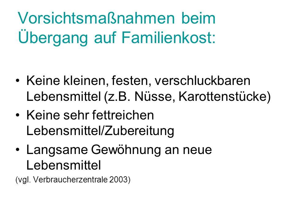 Vorsichtsmaßnahmen beim Übergang auf Familienkost: