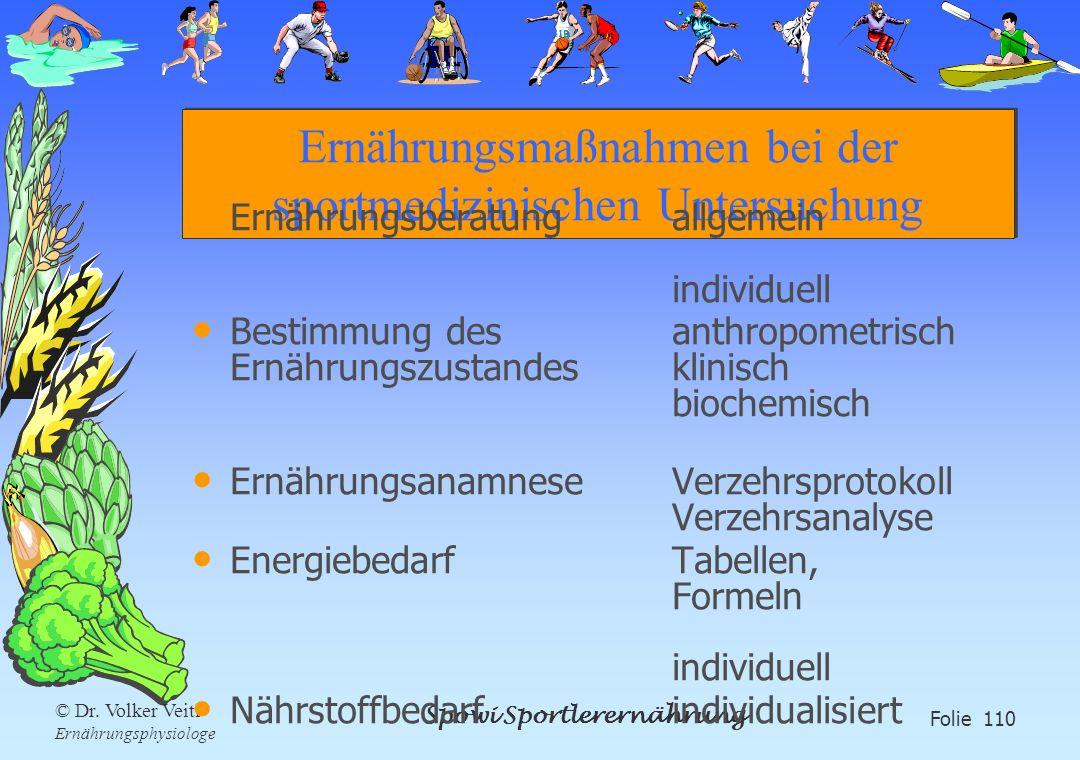 Ernährungsmaßnahmen bei der sportmedizinischen Untersuchung