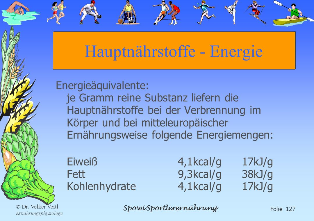Hauptnährstoffe - Energie