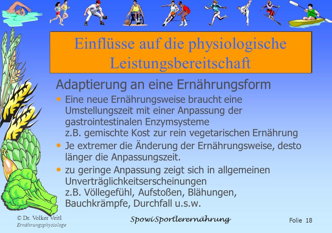 Einflüsse auf die physiologische Leistungsbereitschaft