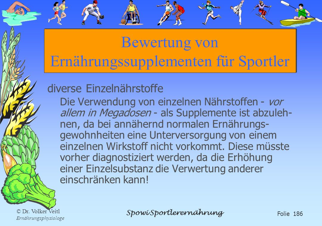 Bewertung von Ernährungssupplementen für Sportler