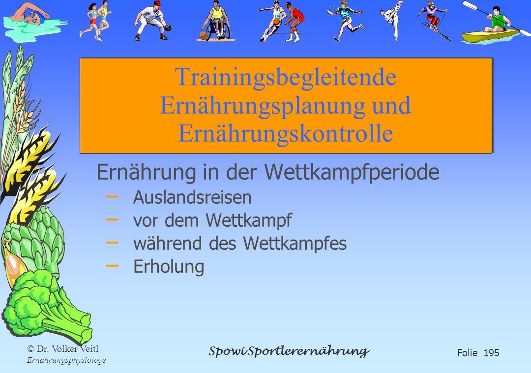 Trainingsbegleitende Ernährungsplanung und Ernährungskontrolle