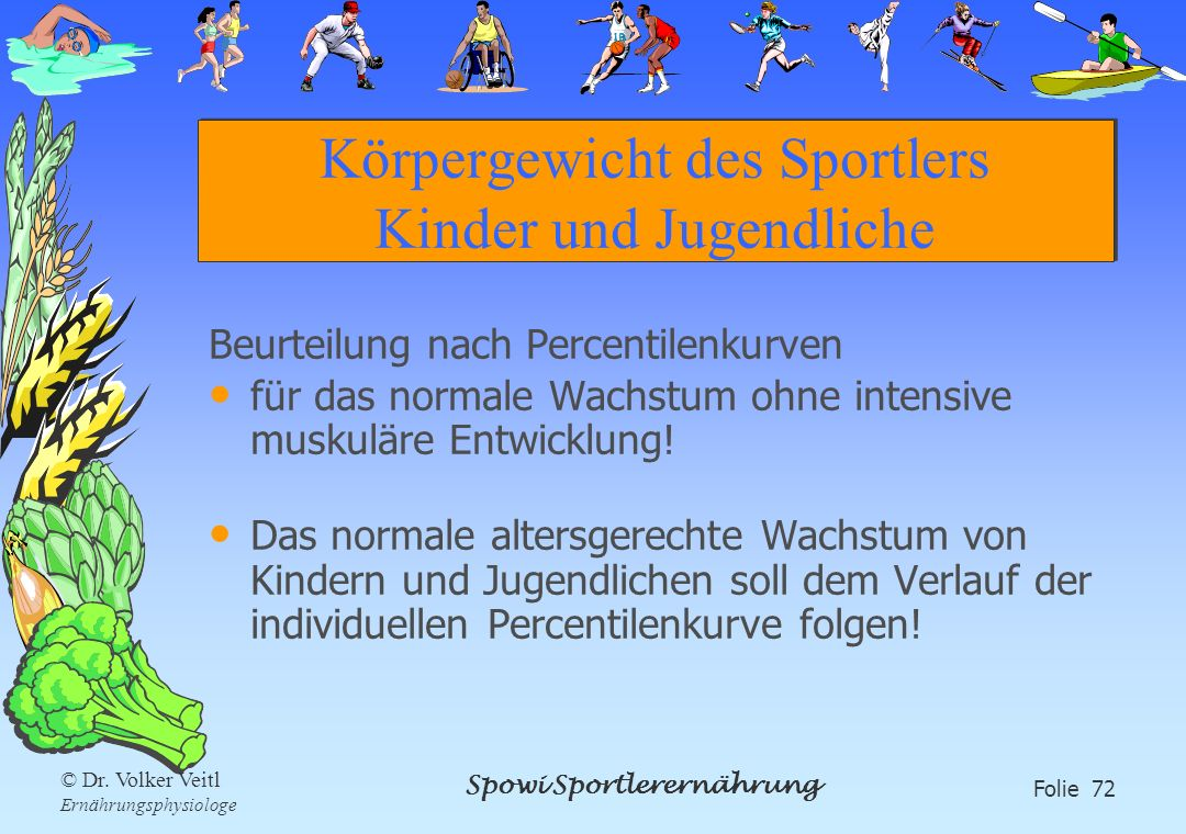 Körpergewicht des Sportlers Kinder und Jugendliche