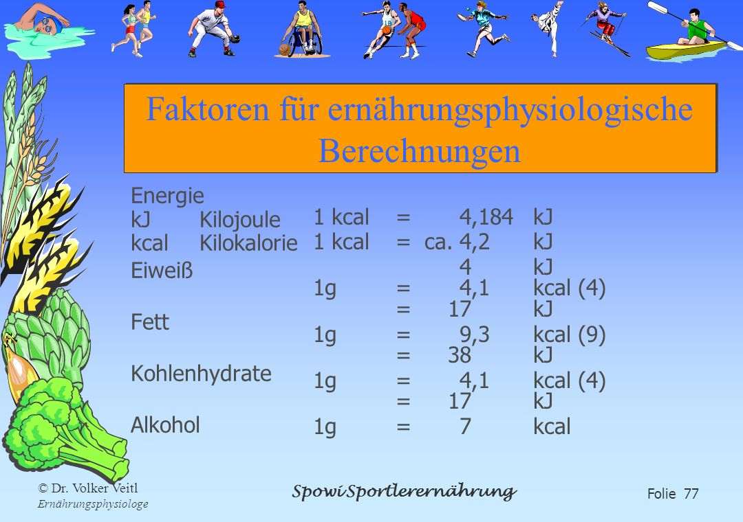Faktoren für ernährungsphysiologische Berechnungen
