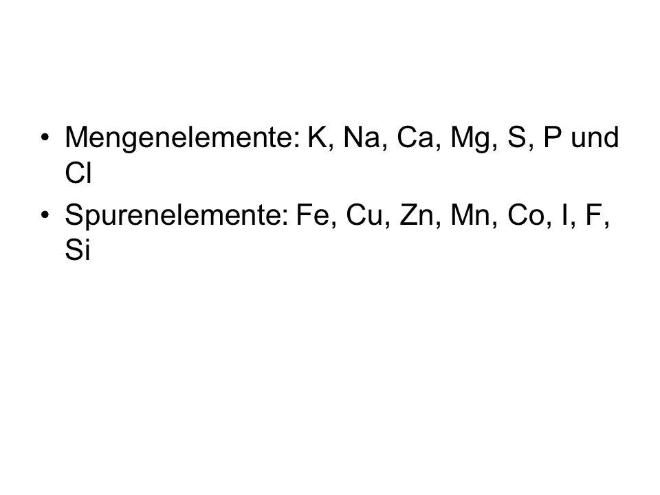 Mengenelemente: K, Na, Ca, Mg, S, P und Cl