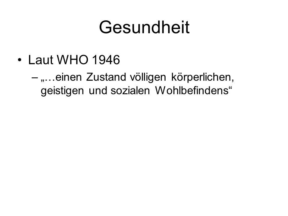 Gesundheit Laut WHO 1946.