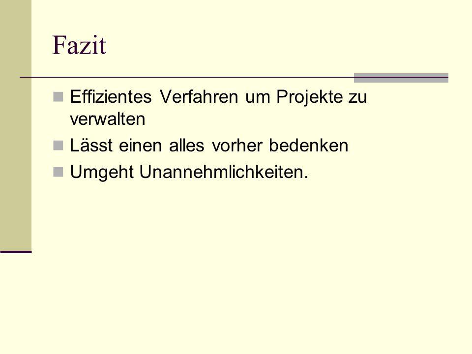 Fazit Effizientes Verfahren um Projekte zu verwalten