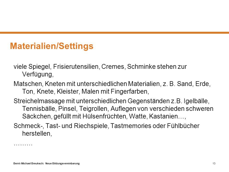 Materialien/Settings