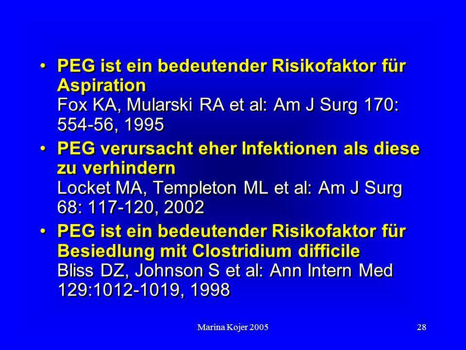 PEG ist ein bedeutender Risikofaktor für Aspiration Fox KA, Mularski RA et al: Am J Surg 170: 554-56, 1995