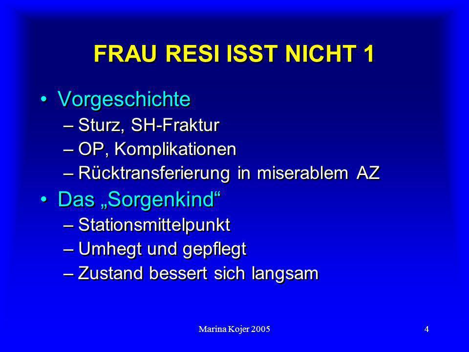 """FRAU RESI ISST NICHT 1 Vorgeschichte Das """"Sorgenkind"""