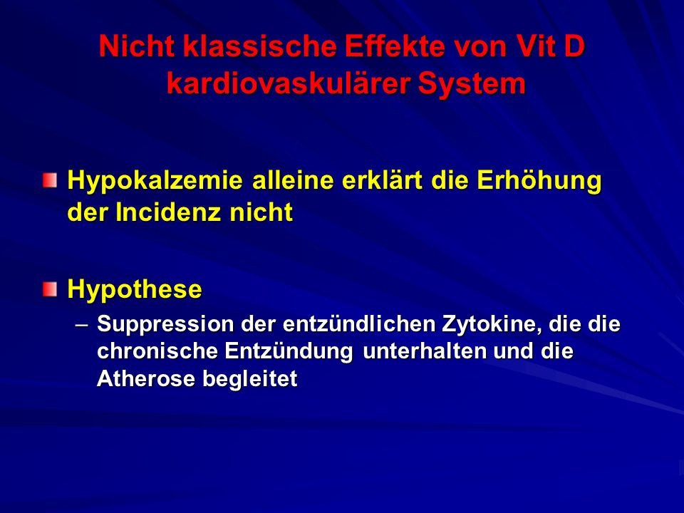 Nicht klassische Effekte von Vit D kardiovaskulärer System