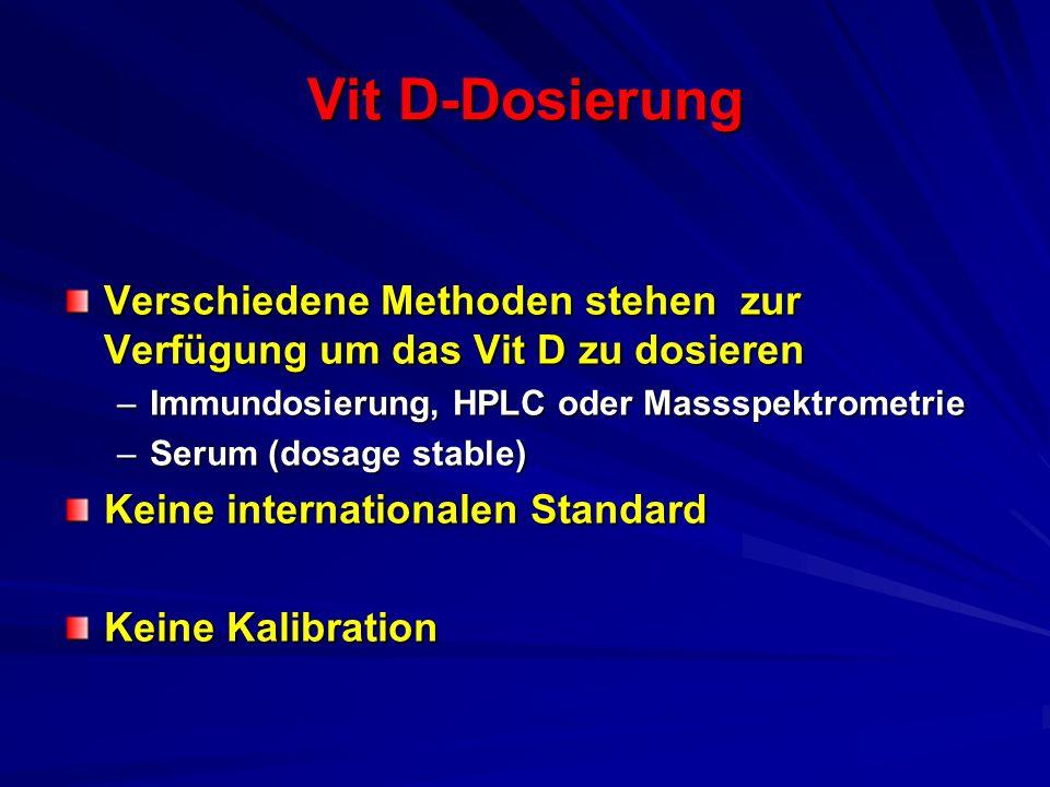 Vit D-Dosierung Verschiedene Methoden stehen zur Verfügung um das Vit D zu dosieren. Immundosierung, HPLC oder Massspektrometrie.