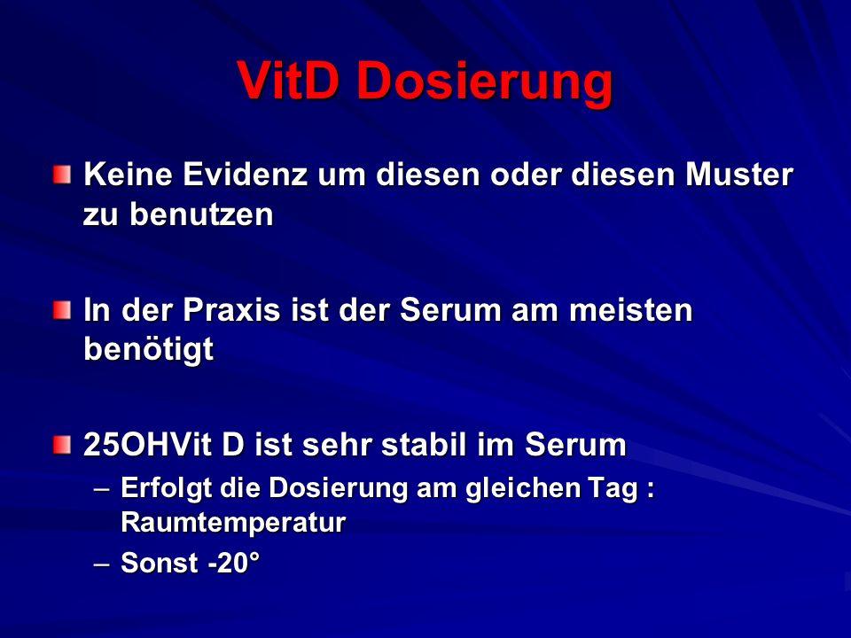 VitD Dosierung Keine Evidenz um diesen oder diesen Muster zu benutzen