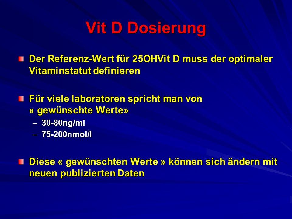 Vit D Dosierung Der Referenz-Wert für 25OHVit D muss der optimaler Vitaminstatut definieren.