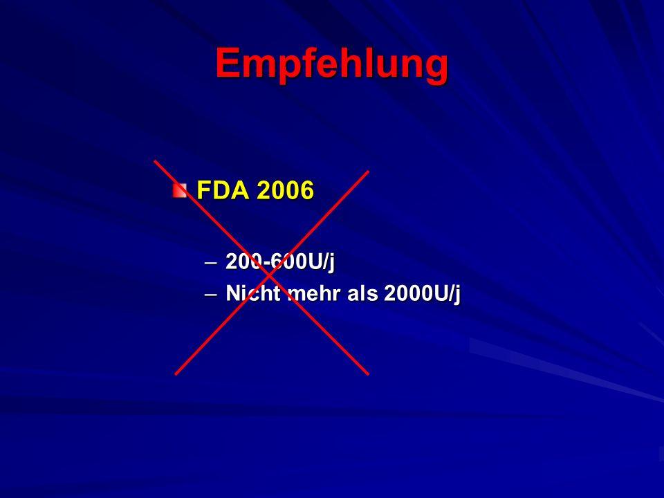 Empfehlung FDA 2006 200-600U/j Nicht mehr als 2000U/j