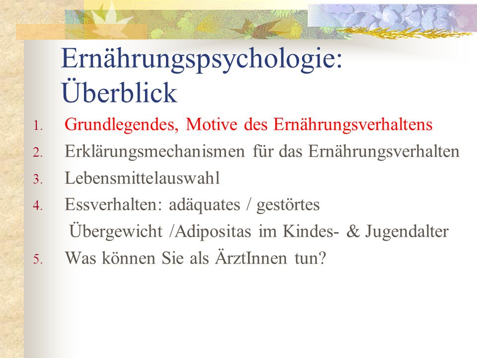 Ernährungspsychologie: Überblick