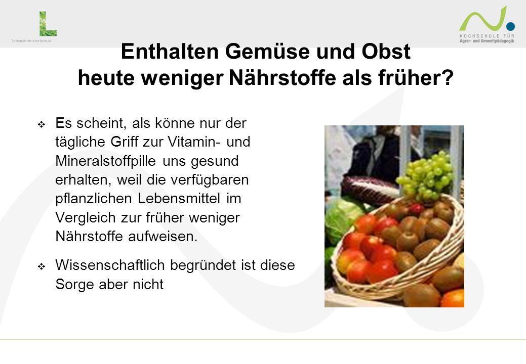Enthalten Gemüse und Obst heute weniger Nährstoffe als früher