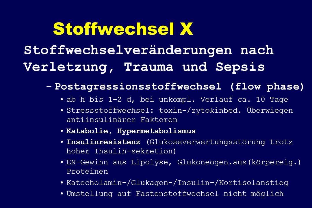 Stoffwechsel X Stoffwechselveränderungen nach Verletzung, Trauma und Sepsis. Postagressionsstoffwechsel (flow phase)