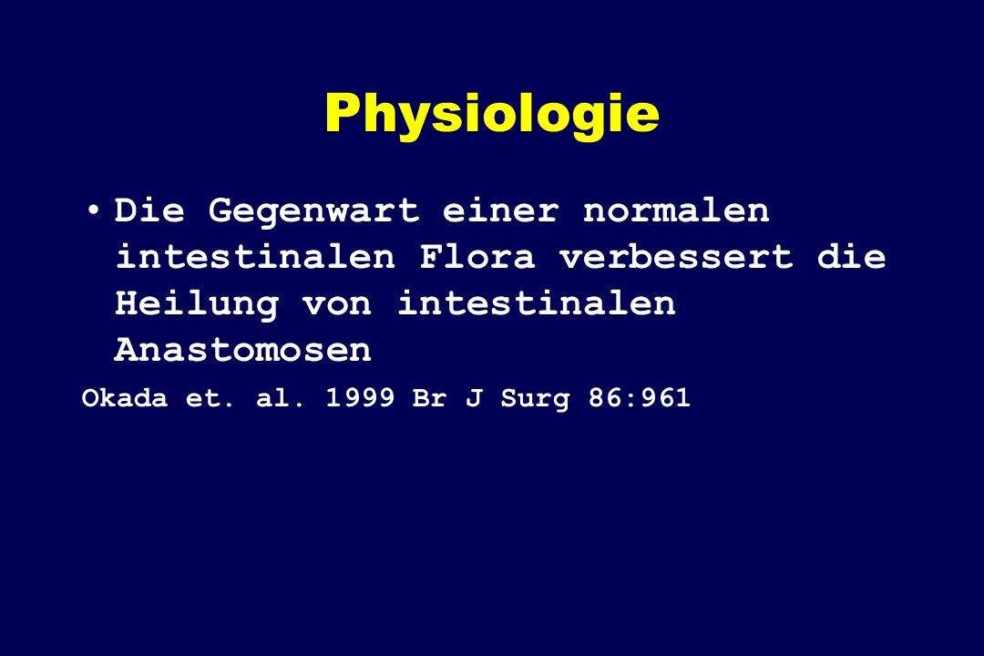 Physiologie Die Gegenwart einer normalen intestinalen Flora verbessert die Heilung von intestinalen Anastomosen.