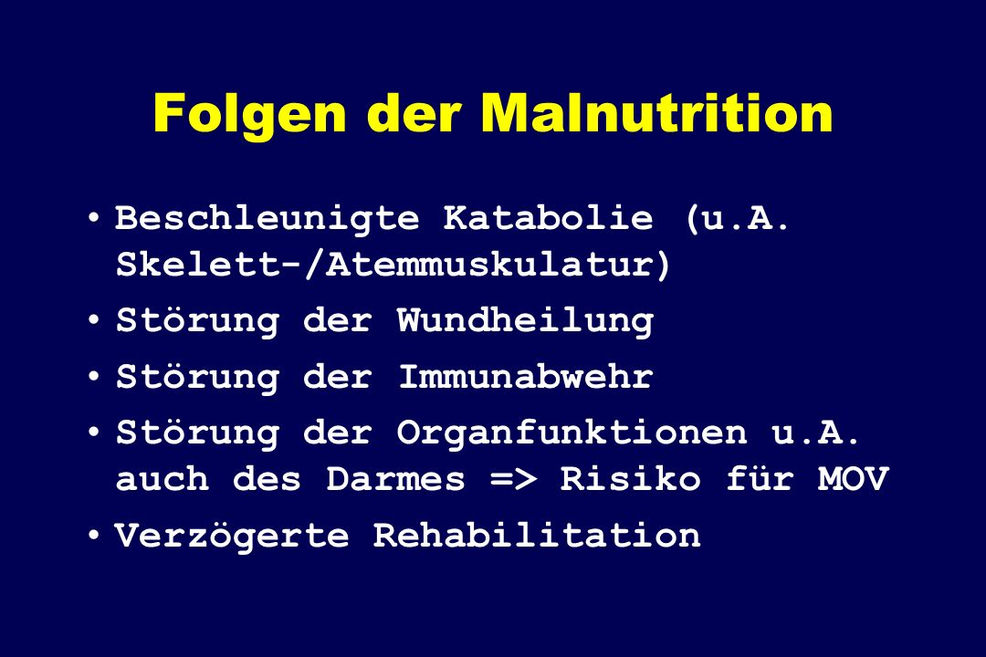 Folgen der Malnutrition