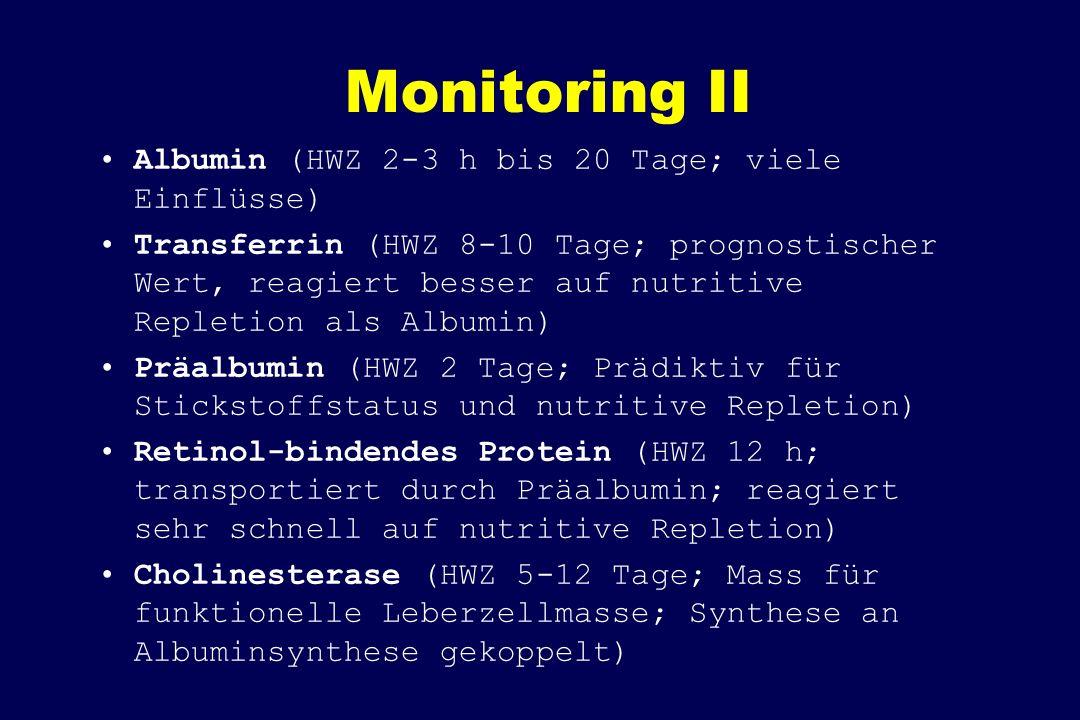 Monitoring II Albumin (HWZ 2-3 h bis 20 Tage; viele Einflüsse)