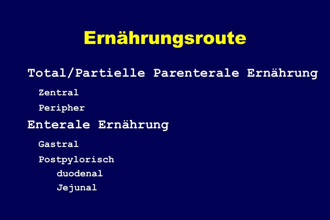 Ernährungsroute Total/Partielle Parenterale Ernährung Zentral