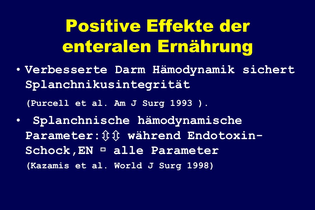 Positive Effekte der enteralen Ernährung