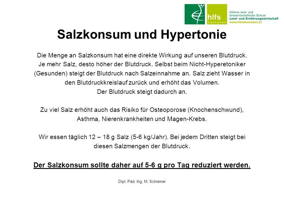 Salzkonsum und Hypertonie