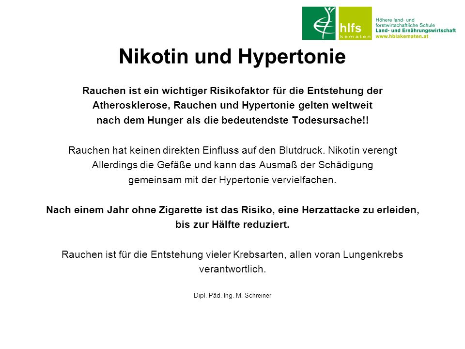 Nikotin und Hypertonie