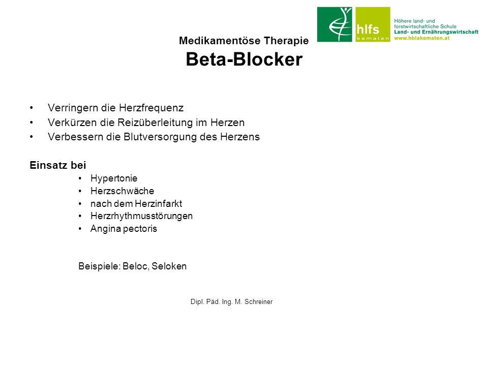 Medikamentöse Therapie Beta-Blocker