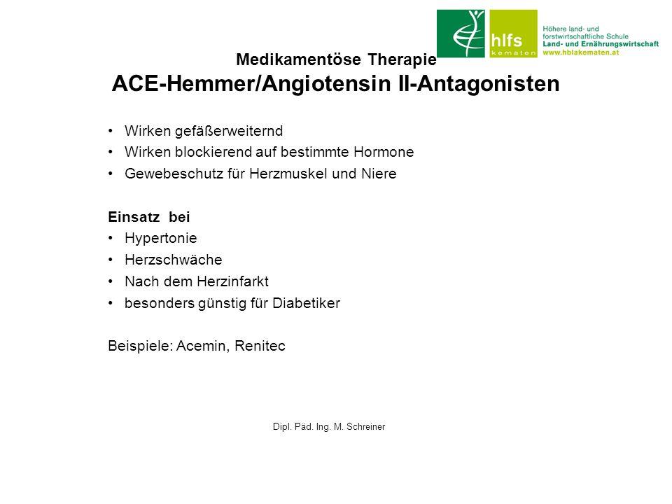 Medikamentöse Therapie ACE-Hemmer/Angiotensin II-Antagonisten