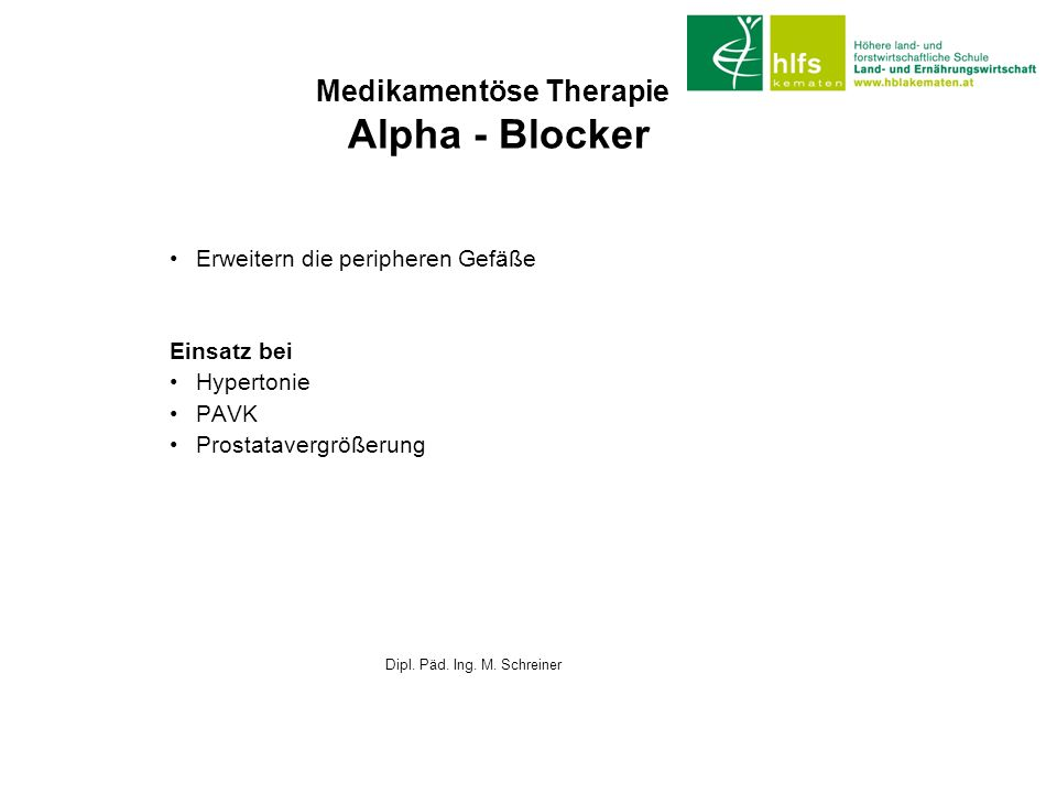 Medikamentöse Therapie Alpha - Blocker