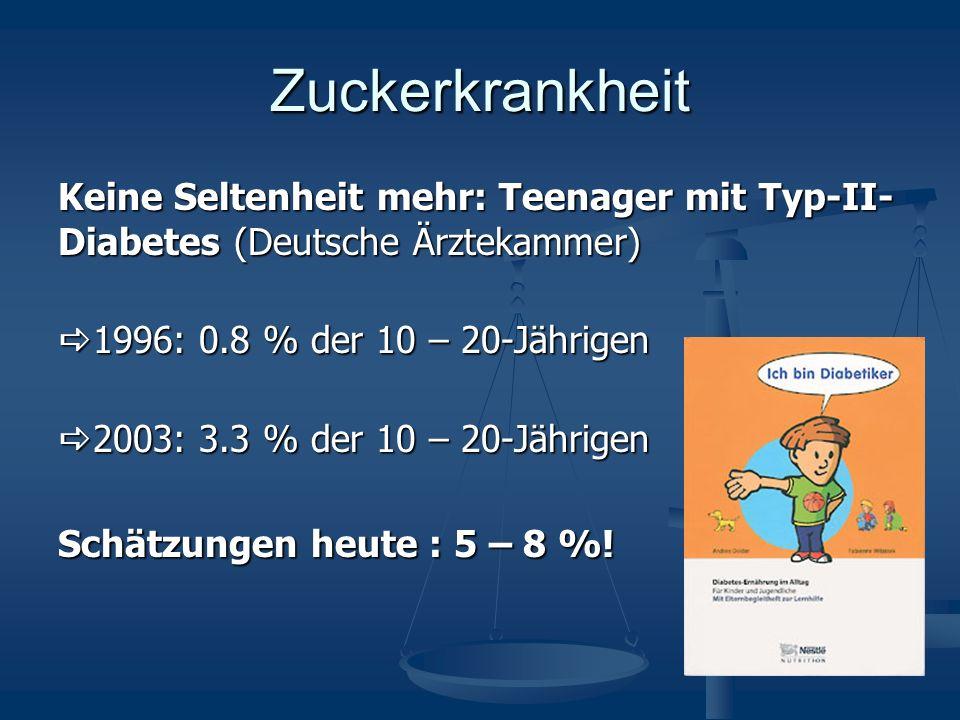 Zuckerkrankheit Keine Seltenheit mehr: Teenager mit Typ-II-Diabetes (Deutsche Ärztekammer) a1996: 0.8 % der 10 – 20-Jährigen.