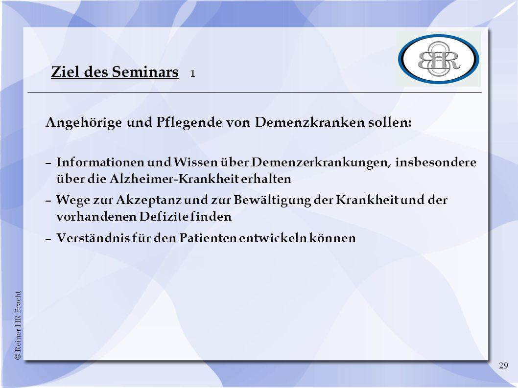 Ziel des Seminars 1 Angehörige und Pflegende von Demenzkranken sollen:
