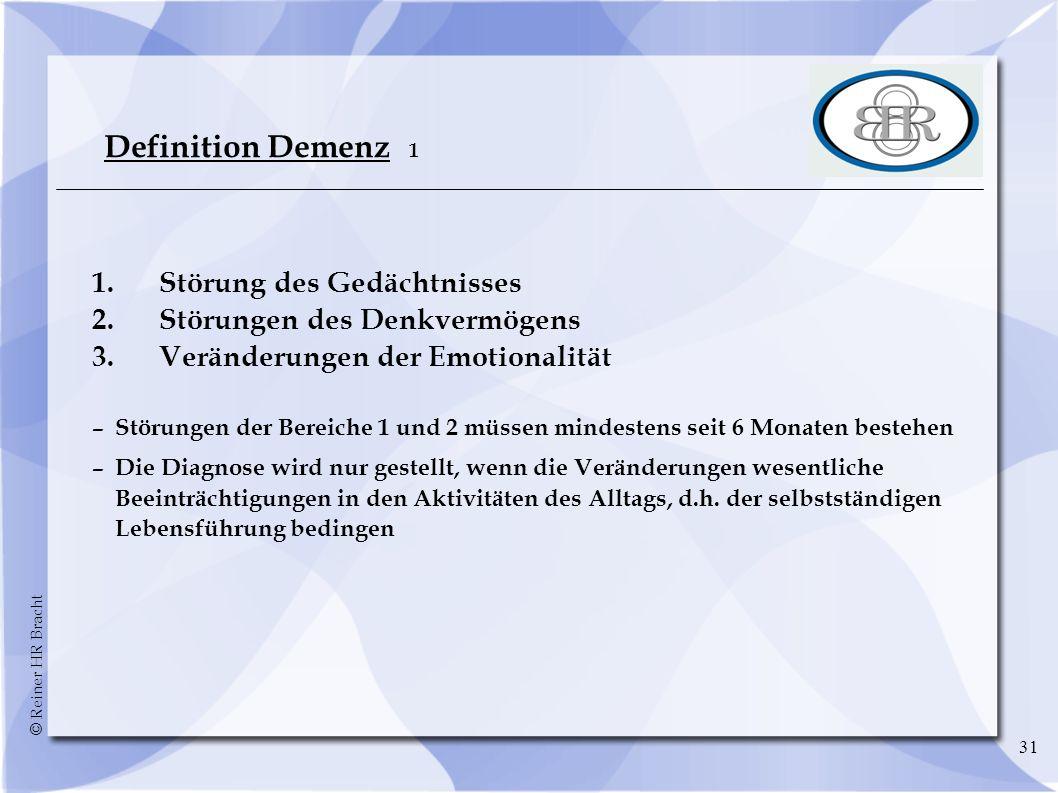 Definition Demenz 1 1. Störung des Gedächtnisses