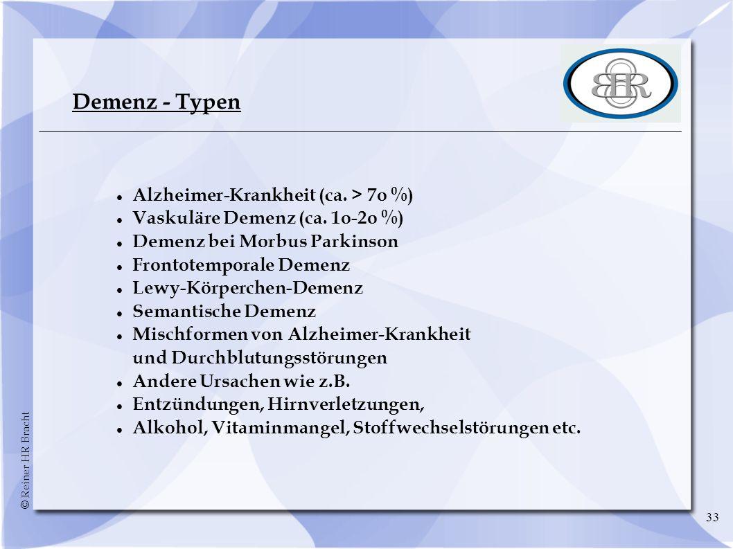 Demenz - Typen Alzheimer-Krankheit (ca. > 7o %)