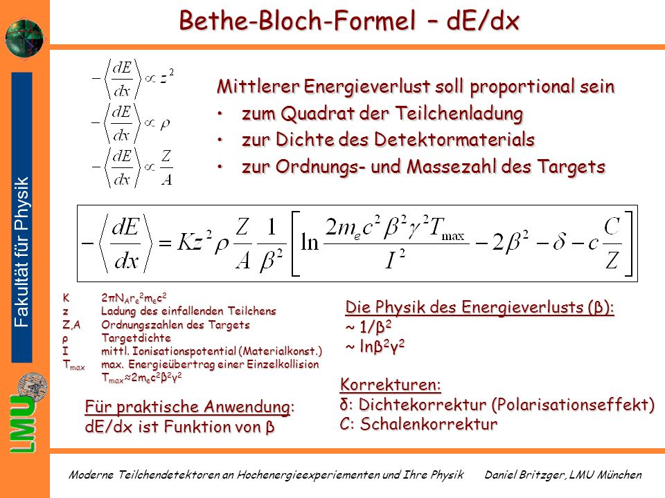 Bethe-Bloch-Formel – dE/dx