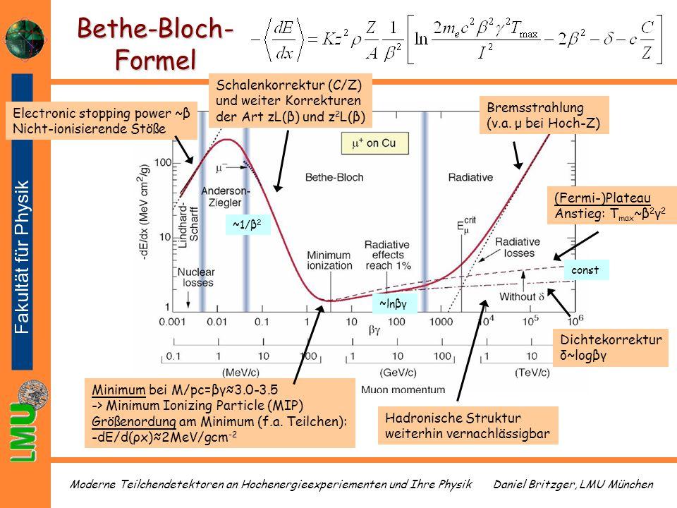 Bethe-Bloch-Formel Schalenkorrektur (C/Z) und weiter Korrekturen der Art zL(β) und z2L(β) Bremsstrahlung (v.a. μ bei Hoch-Z)