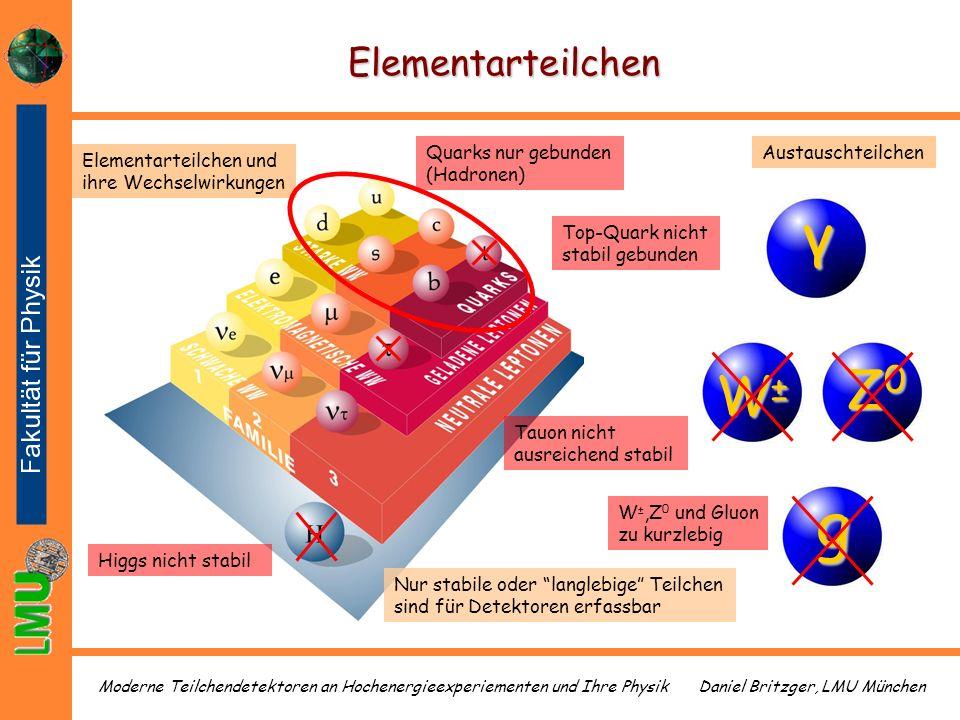 γ g Z0 W± Elementarteilchen Quarks nur gebunden (Hadronen)