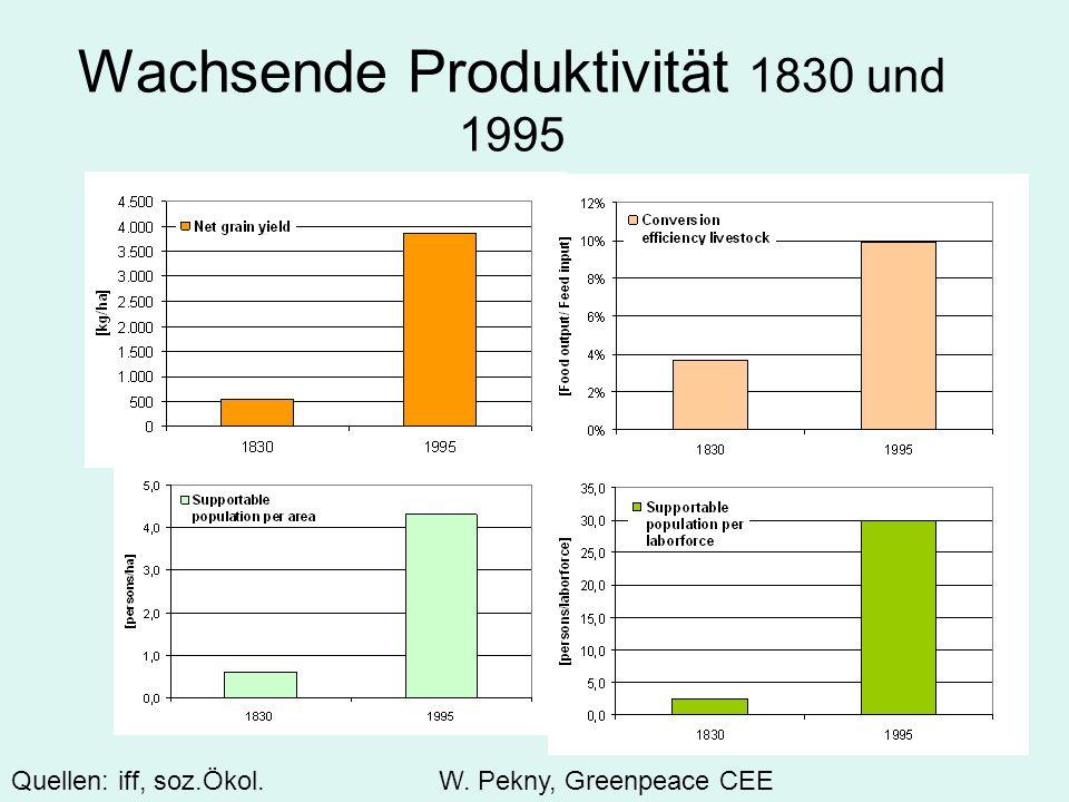Wachsende Produktivität 1830 und 1995