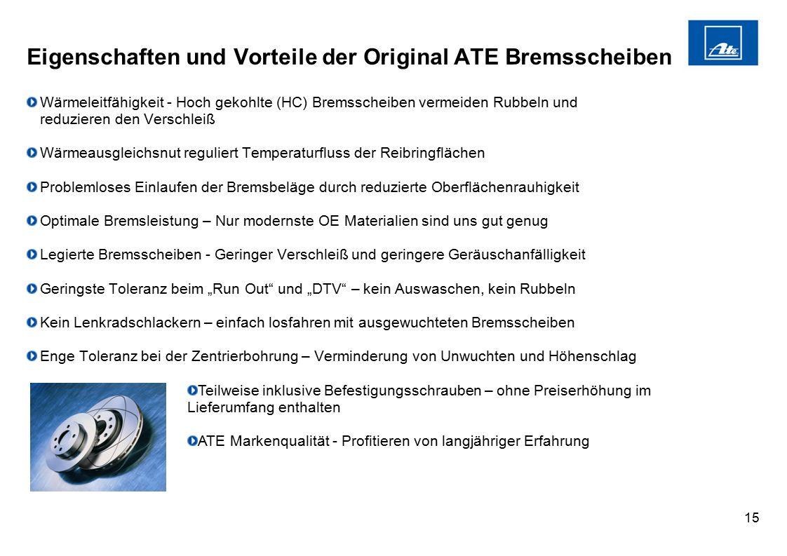 Eigenschaften und Vorteile der Original ATE Bremsscheiben