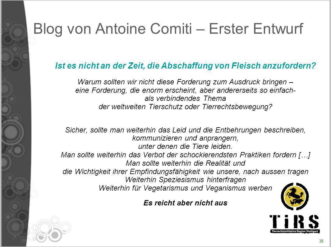 Blog von Antoine Comiti – Erster Entwurf