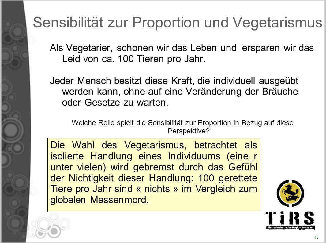 Sensibilität zur Proportion und Vegetarismus