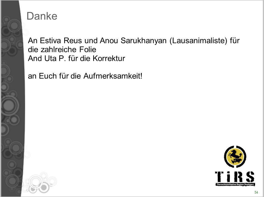 Danke An Estiva Reus und Anou Sarukhanyan (Lausanimaliste) für die zahlreiche Folie. And Uta P. für die Korrektur.