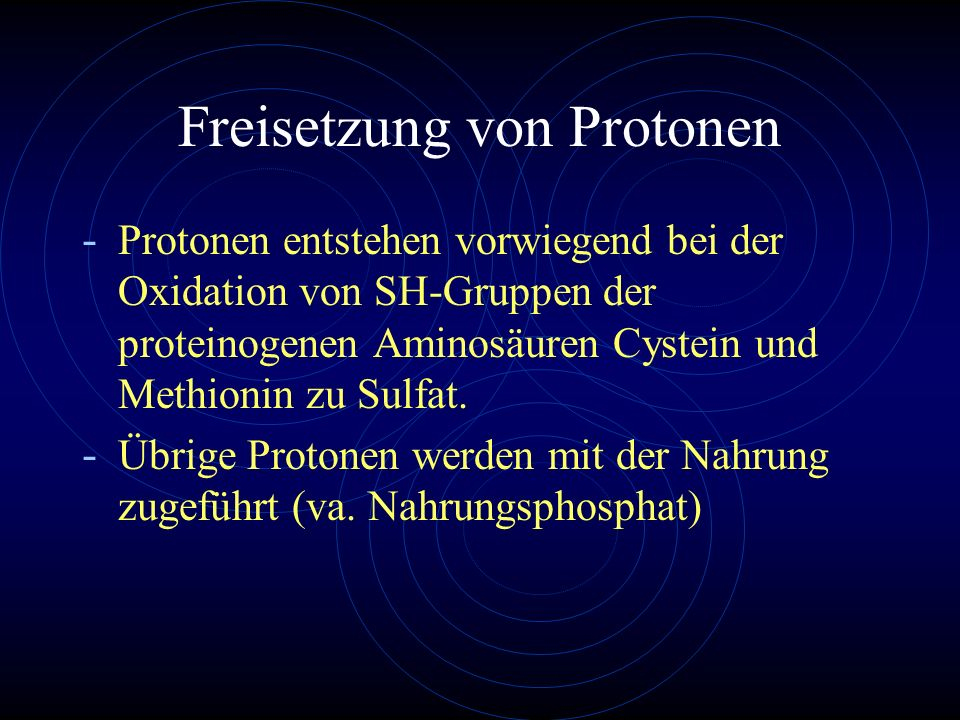 Freisetzung von Protonen
