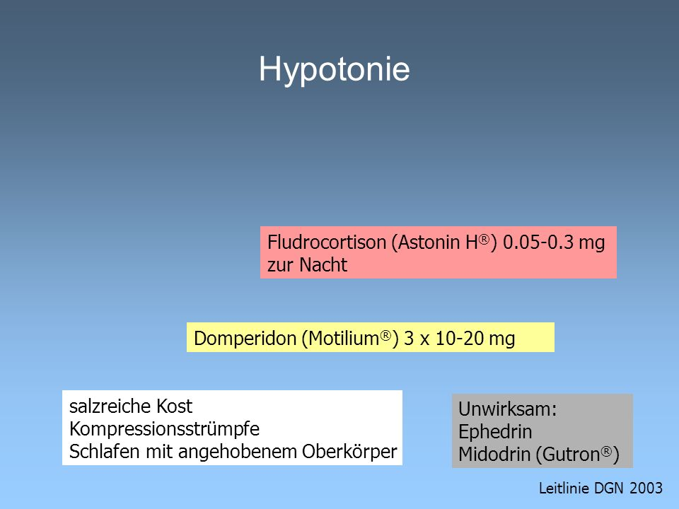 Hypotonie Fludrocortison (Astonin H®) mg zur Nacht