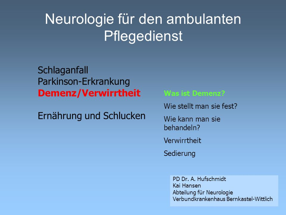 Neurologie für den ambulanten Pflegedienst