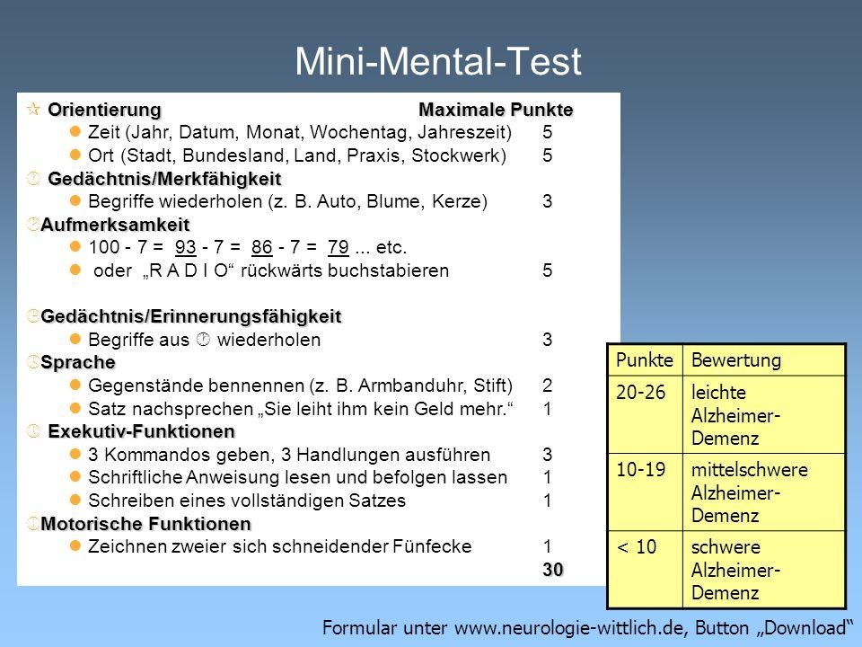 Mini-Mental-Test Orientierung Maximale Punkte