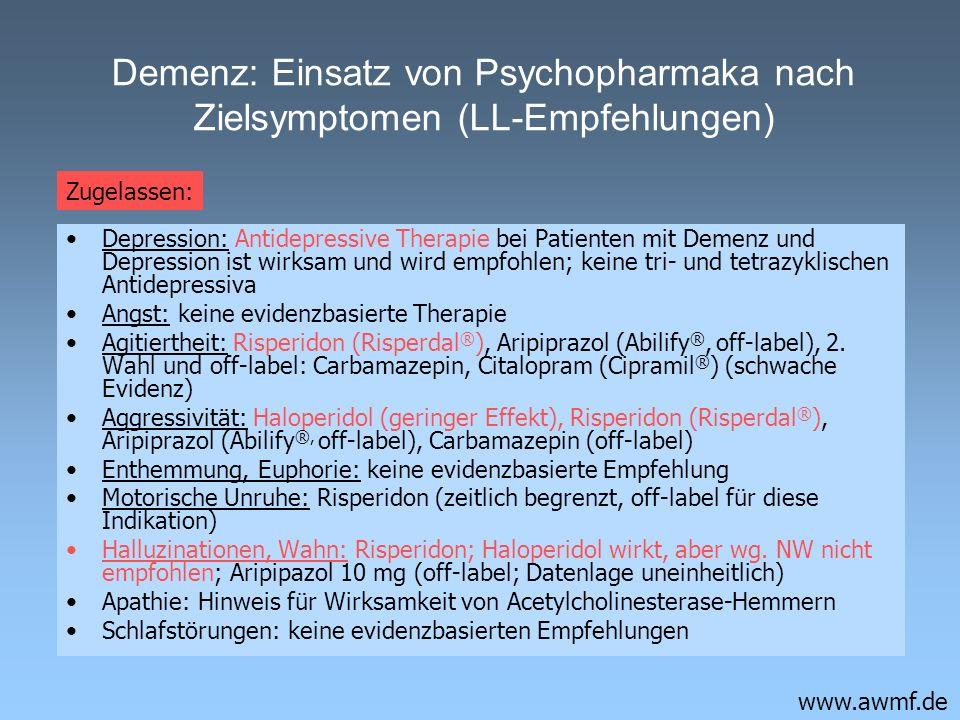 Demenz: Einsatz von Psychopharmaka nach Zielsymptomen (LL-Empfehlungen)